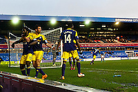 Saturday 25 January 2014<br /> Pictured:  Wilfried Bony Celebrates with team mates<br /> Re: Birmingham City v Swansea City FA Cup fourth round match at St. Andrew's Birimingham
