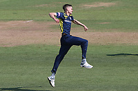 Scott Currie of Hampshire celebrates taking the wicket of Michael Pepper during Hampshire Hawks vs Essex Eagles, Royal London One-Day Cup Cricket at The Ageas Bowl on 22nd July 2021