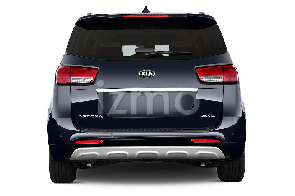 Straight rear view of a 2015 KIA Sedona LX Hybrid 5 Door Mini Van stock images