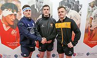 Friday 17th March 2017 | ULSTER SCHOOLS CUP FINAL<br /> <br /> MCB captain Matty Loane and RBAI captain Michael Lowry shake hands at the coin toss watched by referee Oisin Quinn before the Ulster Schools Cup Final between RBAI and MCB at Kingspan Stadium, Ravenhill Park, Belfast, Northern Ireland.<br /> <br /> Photograph by John Dickson | www.dicksondigital.com
