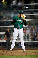 Fort Wayne TinCaps relief pitcher Jordan Guerrero (23) looks in for the sign during a game against the West Michigan Whitecaps on May 17, 2018 at Parkview Field in Fort Wayne, Indiana.  Fort Wayne defeated West Michigan 7-3.  (Mike Janes/Four Seam Images)