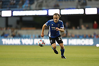 SAN JOSE, CA - MAY 22: Tommy Thompson #22 of the San Jose Earthquakes during a game between Sporting Kansas City and San Jose Earthquakes at PayPal Park on May 22, 2021 in San Jose, California.