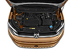 Car Stock 2021 Volkswagen Caddy Style 5 Door Mini MPV Engine  high angle detail view