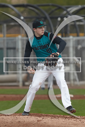 Max Gordon (10) of Warren de La Salle High School in Washington Township, Michigan during the Under Armour All-American Pre-Season Tournament presented by Baseball Factory on January 15, 2017 at Sloan Park in Mesa, Arizona.  (Kevin C. Cox/Mike Janes Photography)