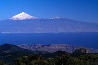 bei Vallehermoso, Blick auf Teide auf Teneriffa, Gomera, Kanarische Inseln, Spanien