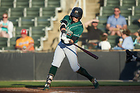 Mason Martin (35) of the Greensboro Grasshoppers at bat against the Rapidos de Kannapolis at Kannapolis Intimidators Stadium on June 14, 2019 in Kannapolis, North Carolina. The Grasshoppers defeated the Rapidos de Kannapolis 4-1. (Brian Westerholt/Four Seam Images)