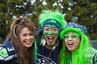 Seattle Seahawks 12th Man Fans, Playoff Rally, Renton, WA, USA.