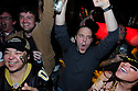 New Orleans Saints fans Wendi Smith, Michael Pitre and Rosalie Cohn celebrate a Reggie Bush touchdown in the first quarter at the R Bar cheer while watching the NFC Championship game against the Minnesota Vickings,  New Orleans, Sunday, Jan. 24, 2010..(AP Photo/Cheryl Gerber)