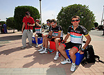 Radioshack-Nissan team riders Markel Irizar (ESP), Tony Gallopin (FRA), Joost Posthuma (NED) and Yaroslav Popvych (UKR) sign a fans shirt before the start of the 3rd Stage of the 2012 Tour of Qatar running 146.5km from Dukhan Souq, Dukhan to Al Gharafa, Qatar. 7th February 2012.<br /> (Photo Eoin Clarke/Newsfile)