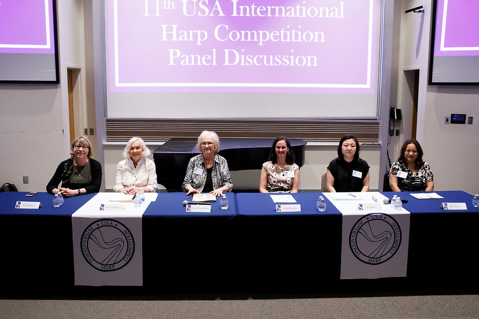 Panelists pose for a photo before the panel discussion at the 11th USA International Harp Competition at Indiana University in Bloomington, Indiana on Friday, July 12, 2019. Pictured from left are: Elzbieta Szmyt, Susann McDonald, Linda Wood Rollo, Isabel Moreton, Jung Kwak and Kaori Otaki. (Photo by James Brosher)