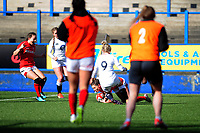 Pictured: Jess Kavanagh of Wales scores her sides first try during the Women's six nations championship match between Wales and England at Cardiff Arms Park, Cardiff, Wales, UK. Sunday 24 February 2019