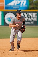 Greeneville Reds third baseman Jonathan India (3) taking infield practice before a game against the Burlington Royals at the Burlington Athletic Complex on July 7, 2018 in Burlington, North Carolina. The game was India's first game as a professional baseball player. Burlington defeated Greeneville 2-1. (Robert Gurganus/Four Seam Images)