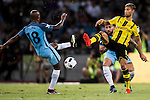 Manchester City midfielder Fabian Delph (l) trips up with Borussia Dortmund midfielder Moritz Leitner (r) during the match against Borussia Dortmund at the 2016 International Champions Cup China match at the Shenzhen Stadium on 28 July 2016 in Shenzhen, China. Photo by Victor Fraile / Power Sport Images