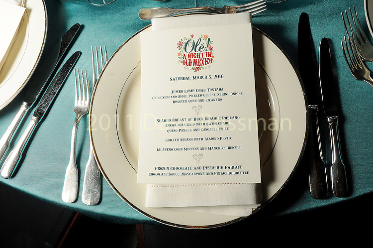 The menu at the Ole! A Night in Old Mexico Gala at the Museum of Natural Science Saturday March 05,2016.(Dave Rossman Photo)