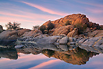 Granite rock formation and reflection at Watson Lake, Arizona