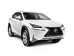 White 2016 Lexus NX 300h SUV car mid-sized crossover vehicle isolated on white background with clipping path Image © MaximImages, License at https://www.maximimages.com
