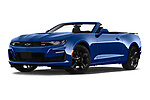 Stock pictures of low aggressive front three quarter view of 2020 Chevrolet Camaro 1SS 2 Door Convertible Low Aggressive