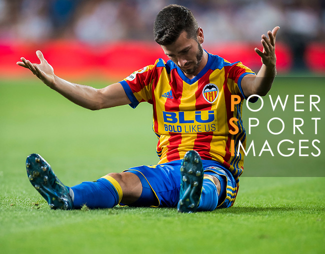 Jose Luis Gaya Pena of Valencia CF reacts during their La Liga 2017-18 match between Real Madrid and Valencia CF at the Estadio Santiago Bernabeu on 27 August 2017 in Madrid, Spain. Photo by Diego Gonzalez / Power Sport Images
