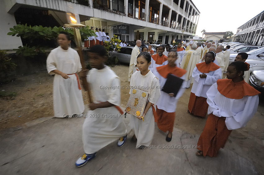 Marching on Henck Arron Straat to ST. Petrus and Paulus Cathedral.....Blessing and First Worship of ST. Petrus and Paulus Cathedral (AKA World's largest wooden cathedral)