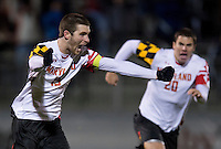 Patrick Mullins (15) of Maryland celebrates his goal during the game at the Maryland SoccerPlex in Germantown, MD. Maryland defeated Clemson, 1-0, in overtime.  With the win the Terrapins advanced to the finals of the ACC men's soccer tournament.