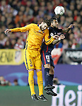 Atletico de Madrid's Augusto Fernandez (r) and FC Barcelona's Gerard Pique during Champions League 2015/2016 Quarter-Finals 2nd leg match. April 13,2016. (ALTERPHOTOS/Acero)