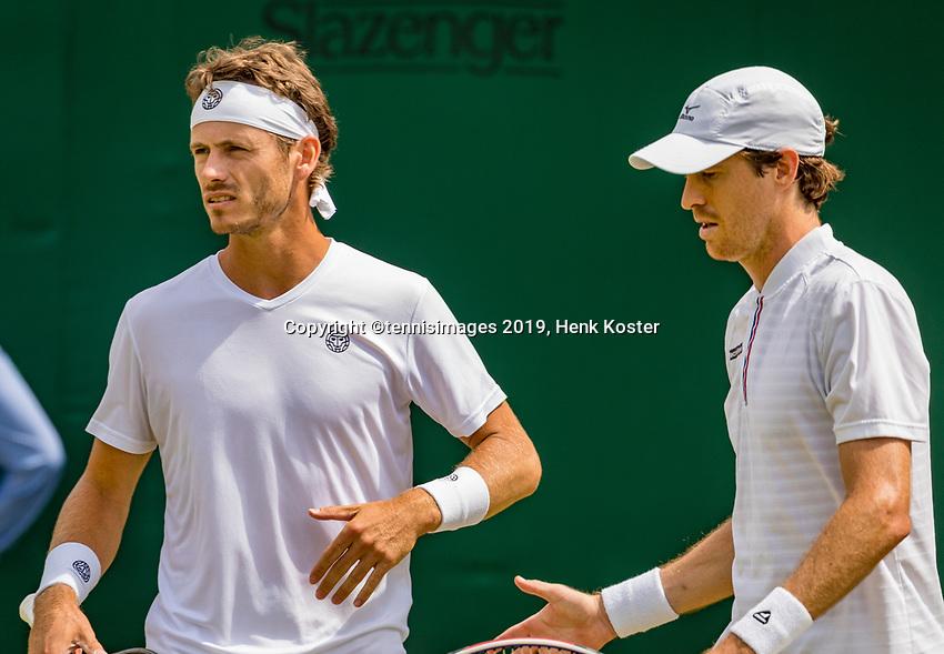 London, England, 8 July, 2019, Tennis,  Wimbledon, Men's doubles Wesley Koolhof and Marcus Daniell (DEN) (R)<br /> Photo: Henk Koster/tennisimages.com