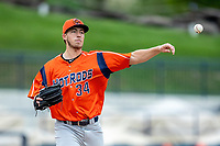 Bowling Green Hot Rods pitcher Matthew Liberatore (34) makes a pickoff throw to first base against the West Michigan Whitecaps on May 21, 2019 at Fifth Third Ballpark in Grand Rapids, Michigan. The Whitecaps defeated the Hot Rods 4-3.  (Andrew Woolley/Four Seam Images)