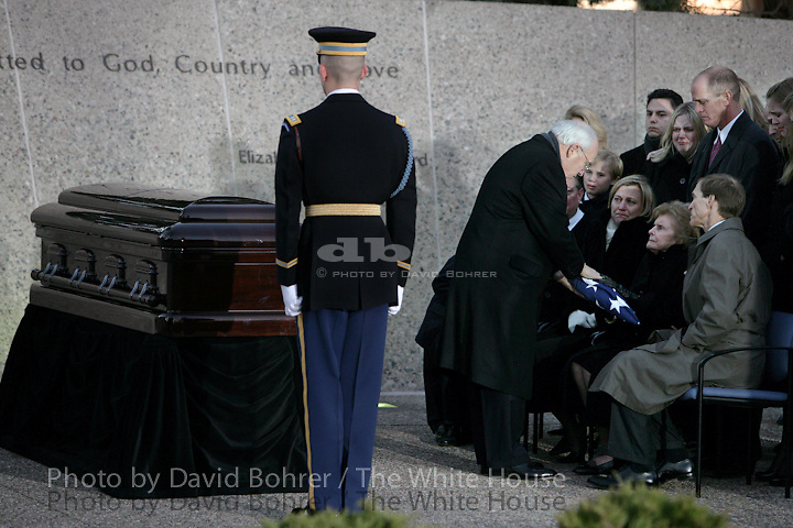 VP Cheney and Mrs. Lynne Cheney: Funeral Service and Interment Ceremonies for former President Gerald R. Ford at the Gerald R. Ford Presidential Library in Grand Rapids, Mich.  Former President Jimmy Carter and former Secretary Donald Rumsfeld.