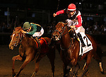 LOUISVILLE, KY -JUNE 18: Bradester (right, red and white silks, ridden by Joe Bravo) wins the 35th running of the G1 Stephen Foster Handicap over Eagle (Brian Hernandez Jr.) at Churchill Downs, Louisville, Kentucky. Bradester (Lion Heart x Grandestofall, by Grand Slam) is owned by Joseph W. Sutton and trained by Eddie Kenneally. (Photo by Mary M. Meek/Eclipse Sportswire/Getty Images)