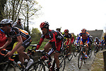The peloton including Manuel Quinziato (ITA) and Belgian Champion Philippe Gilbert (BEL) BMC Racing Team enter the Molenberg climb during the 96th edition of The Tour of Flanders 2012, running 256.9km from Bruges to Oudenaarde, Belgium. 1st April 2012. <br /> (Photo by Steven Franzoni/NEWSFILE).