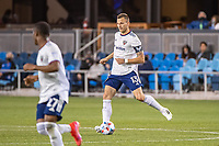 SAN JOSE, CA - MAY 01: Frederic Brillant #13 of DC United passes the ball during a game between San Jose Earthquakes and D.C. United at PayPal Park on May 01, 2021 in San Jose, California.