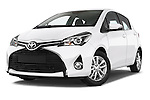 Stock pictures of low aggressive front three quarter view of2015 Toyota YARIS Dynamic 5 Door Hatchback 2WD Low Aggressive