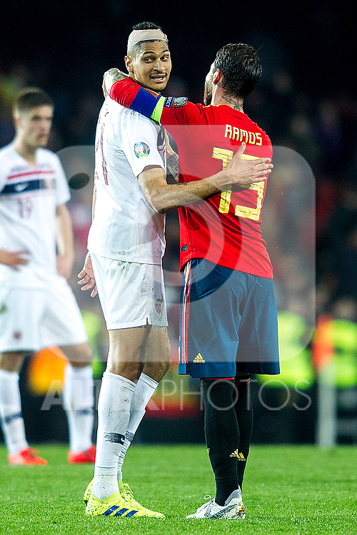 Norway's Haitam Aleesami and Spain's Sergio Ramos  during the qualifying match for Euro 2020 on 23th March, 2019 in Valencia, Spain. (ALTERPHOTOS/Alconada)