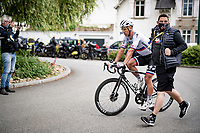 Peter Sagan (SVK/BORA - hansgrohe) escorted to the teambus post-race to check on his wounds after crashing (with Caleb Ewan) in the finish straight<br /> <br /> Stage 3 from Lorient to Pontivy (183km)<br /> 108th Tour de France 2021 (2.UWT)<br /> <br /> ©kramon