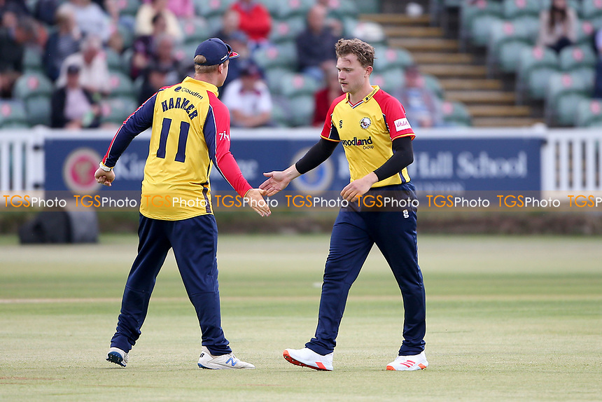 Sam Cook of Essex celebrates taking the wicket of Eddie Byrom during Somerset vs Essex Eagles, Vitality Blast T20 Cricket at The Cooper Associates County Ground on 9th June 2021