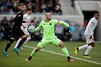 LOS ANGELES, CA - MARCH 01: GK Luis Robles #31 of Inter Miami CF throws a ball during a game between Inter Miami CF and Los Angeles FC at Banc of California Stadium on March 01, 2020 in Los Angeles, California.