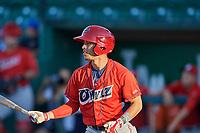 Leonardo Rivas (1) of the Orem Owlz bats during the game against the Ogden Raptors at Lindquist Field on September 10, 2017 in Ogden, Utah. Ogden defeated Orem 9-4. (Stephen Smith/Four Seam Images)