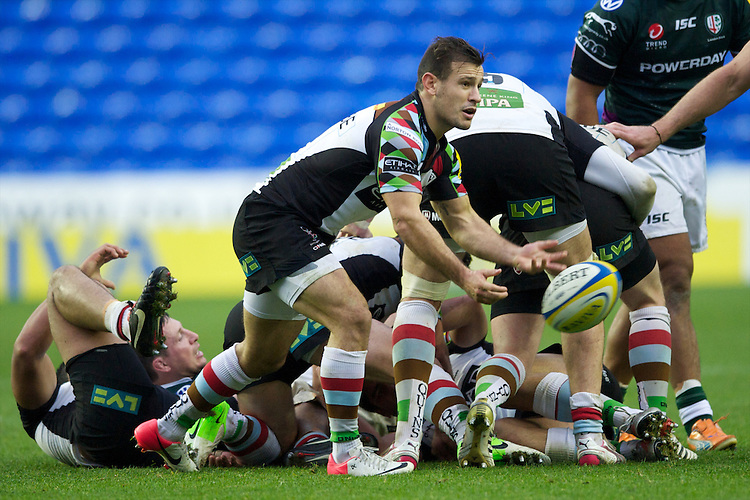 Danny Care of Harlequins in action during the Aviva Premiership match between London Irish and Harlequins at the Madejski Stadium on Sunday 28th October 2012 (Photo by Rob Munro)
