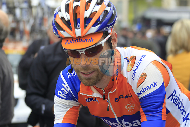 Laurens Ten Dam (NED) Rabobank Cycling Team makes his way to sign on before the start of the 98th edition of Liege-Bastogne-Liege outside the Palais des Princes-Eveques, running 257.5km from Liege to Ans, Belgium. 22nd April 2012.  <br /> (Photo by Eoin Clarke/NEWSFILE).