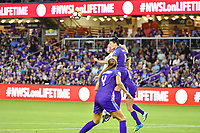Orlando, FL - Saturday March 24, 2018: Orlando Pride defender Ali Krieger (11) and Utah Royals Gunnhildur Jonsdottir (23) battle for a header during a regular season National Women's Soccer League (NWSL) match between the Orlando Pride and the Utah Royals FC at Orlando City Stadium. The game ended in a 1-1 draw.