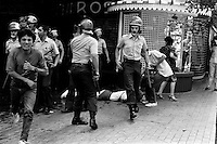 4 Marzo 1984<br /> Jornada de Protesta contra el gobierno en el centro de Santiago Chile, alrededor de 20 personas resultaron detenidas y otras heridas por la polic√≠a que reprimi√≥ las manifestaciones.<br /> <br /> Forty years ago, on September 11, 1973, a military coup led by General Augusto Pinochet toppled the democratic socialist government of Chile. President Salvador Allende was killed during the  attack to seize  La Moneda presidential palace.  In the aftermath of the coup, a quarter of a million people were detained for their political beliefs, 3000 were killed or disappeared and many thousands were tortured.<br /> Some years later in 1981, while Pinochet ruled Chile with iron fist, a young photographer called Juan Carlos Caceres started to freelance in the streets of Santiago and the poblaciones or poor outskirts, showing the growing resistance against the dictatorship. For the next 10 years Caceres photographed every single protest and social movement fighting for the restoration of democracy. He knew that his camera was his only weapon, he knew that his fate was to register the daily violence and leave his images for the History.<br /> In this days Caceres is working to rescue and organize his collection of images in the project Imagenes de la Resistencia   . With support of some Chilean official institutions, thousands of negatives are digitalized and organized to set up the more complete visual heritage of this  violent period of Chile´s history.