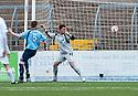 Forfar's Michael Bolochoweckyj knocks the ball past his own keeper Darren Hill for Ayr Utd's goal.