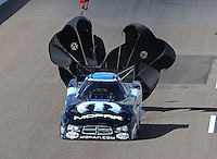 Feb. 24, 2013; Chandler, AZ, USA; NHRA funny car driver Matt Hagan during the Arizona Nationals at Firebird International Raceway. Mandatory Credit: Mark J. Rebilas-