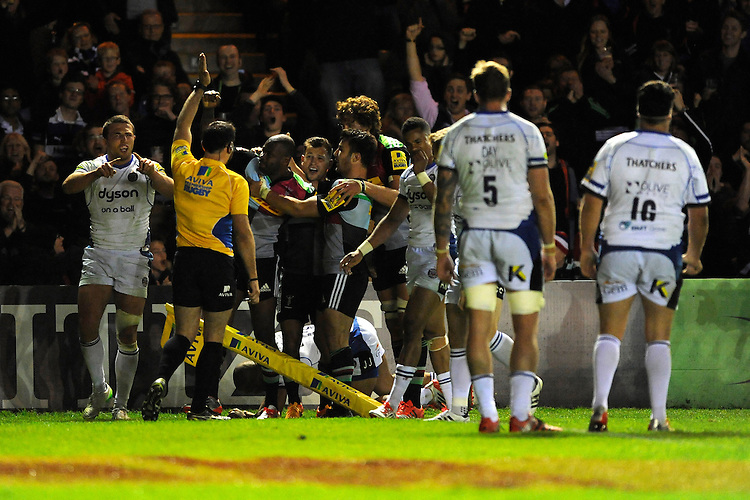 Ugo Monye of Harlequins scores his second try of the night in his final home game for Harlequins