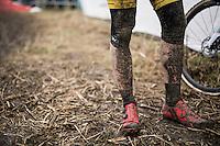 Thijs Aerts' (BEL/U23/Telenet-Fidea) muddy post-race legs<br /> <br /> U23 men's race<br /> CX Superprestige Noordzeecross <br /> Middelkerke / Belgium 2017