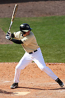UCF Knights second baseman Spencer Hayes #3 at bat during a game against the Siena Saints at the UCF Baseball Complex on March 4, 2012 in Orlando, Florida.  Central Florida defeated Siena 15-2.  (Mike Janes/Four Seam Images)
