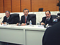 France 2002.Conférence de l' opposition kurde irakienne à Paris.J.Talabani, K. Nezar et M.Barzani.France 2002.Kurdish Iraki Opposition Conference in Paris.J.Talabani, K. Nezar et M.Barzani