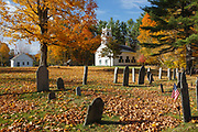 Congregational Society Meeting House in Bradford, New Hampshire during the autumn months. Built in 1838, this meeting house was listed on the National Register of Historic Places in 2013.