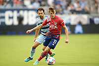 KANSAS CITY, KS - JULY 31: Szabolcs Schon #11 FC Dallas with the ball during a game between FC Dallas and Sporting Kansas City at Children's Mercy Stadium on July 31, 2021 in Kansas City, Kansas.
