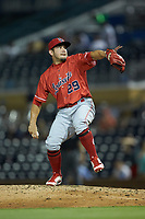 Louisville Bats infielder Alberti Chavez (29) is pressed into service as a relief pitcher during the game against the Durham Bulls at Durham Bulls Athletic Park on May 28, 2019 in Durham, North Carolina. The Bulls defeated the Bats 18-3. (Brian Westerholt/Four Seam Images)